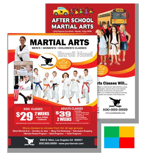 Martial arts flyers business cards brochures door hangers flyer ma020010 colourmoves