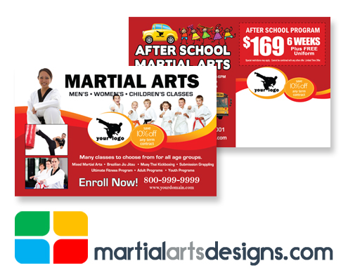 Martial Arts Postcards Template ma020010