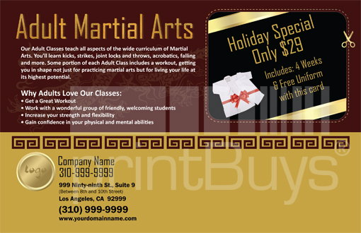 Martial Arts Design Template Postcard ma000005 side 2