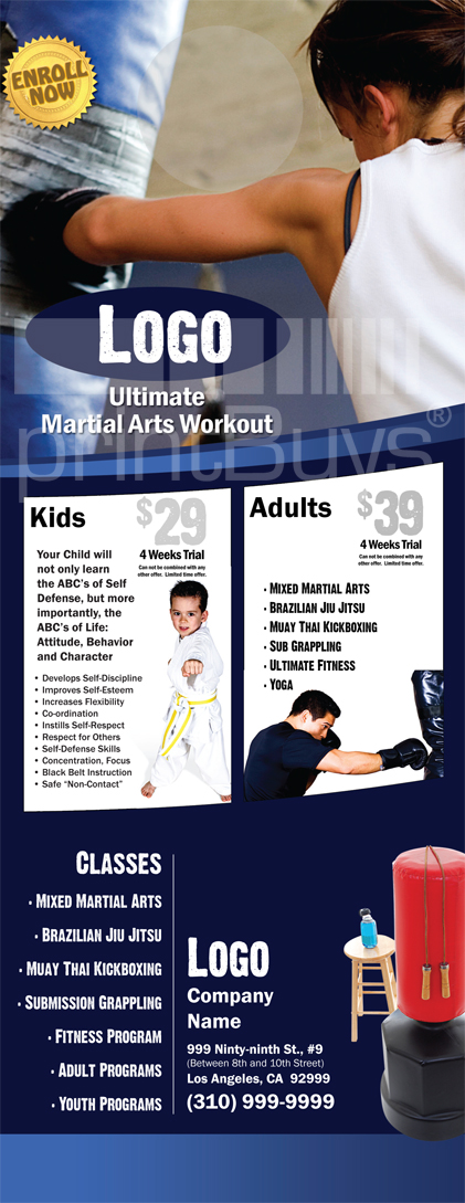 Martial Arts Design Template Postcard 8.5 x 5.5 Flyer ma000502 4.25 x 14
