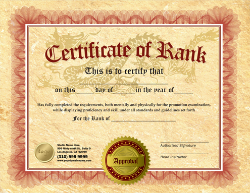 Rank certificate 8 5 x 11 ma010501 for Martial art certificate templates free