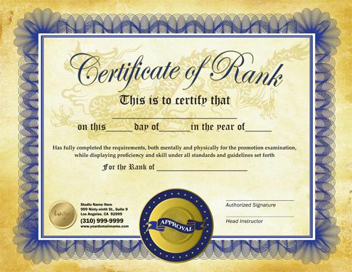 martial arts certificate template