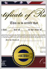 Martial Arts Rank Certificate  ma010504