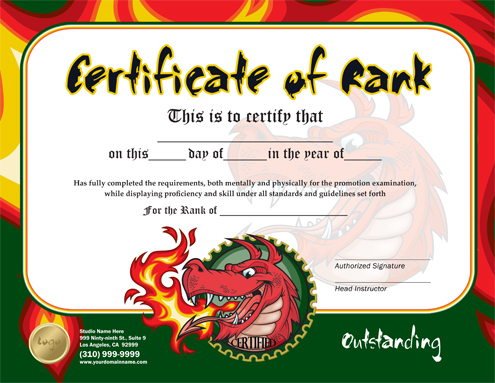 Martial arts design templates martial arts design template rank certificate 85 x 55 flyer ma010505 85 x 11 yelopaper Images